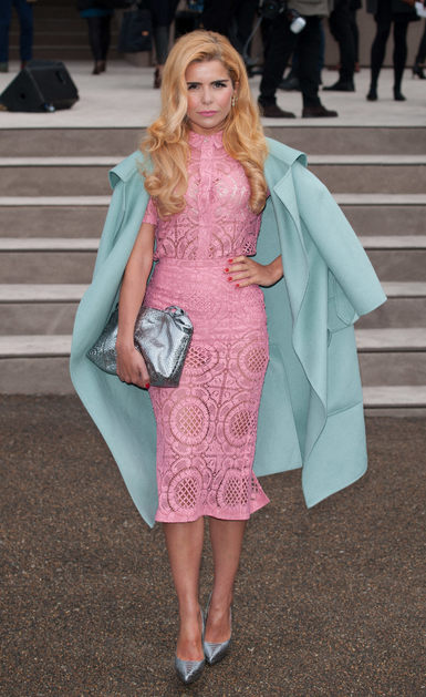 5a810ba3d7 paloma faith burberry mens collection pink lace dress