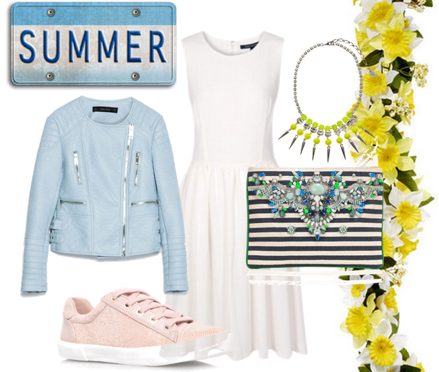 summer style, summer fashion, spring style, spring dress, little white dress, white summer dress, breton stripes, accessorize clutch bag, pink trainers, blue leather jacket, spring leather jacket, style advice