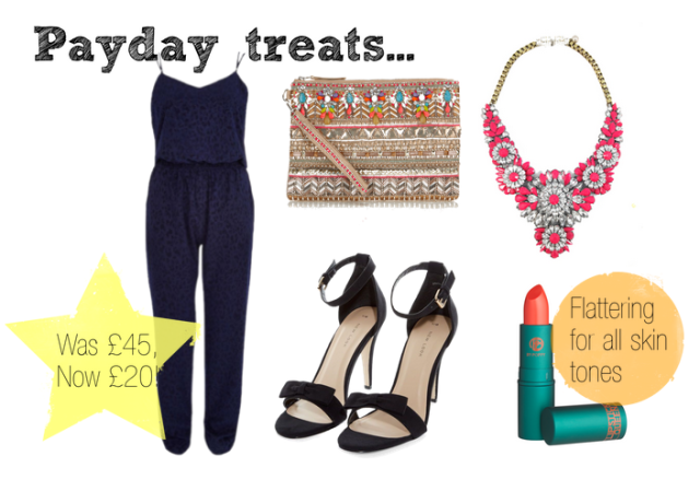 payday shopping, payday, shopping, animal print, animal print jumpsuit, cami jumpsuit, navy jumpsuit, coral lipstick, best coral lipstick, barely there sandals, barely there heels, new look shoes, statement jewellery, statement necklace, pink statement necklace, embellished clutch bag, accessorize clutch bag