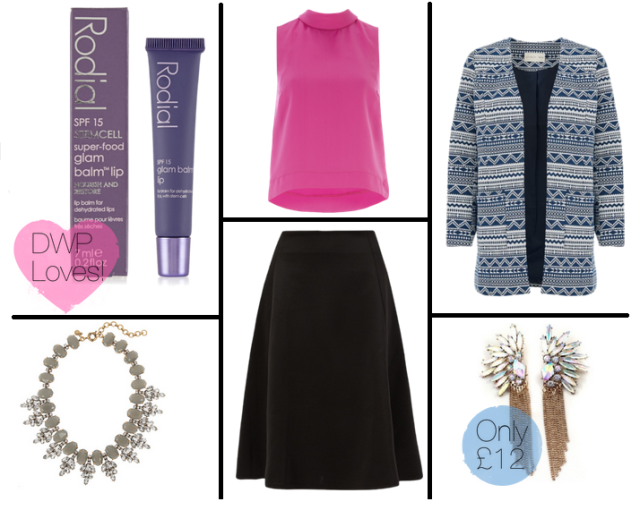 fashion, style, wednesday wishlist, dress with press, dwp, shopping, payday shopping, midi skirt, black midi skirt, high neck top, hot pink top, kimono trend, summer jackets, statement jewellery, statement jackets, statement necklace, statement earrings, beauty, rodial, rodial lip balm