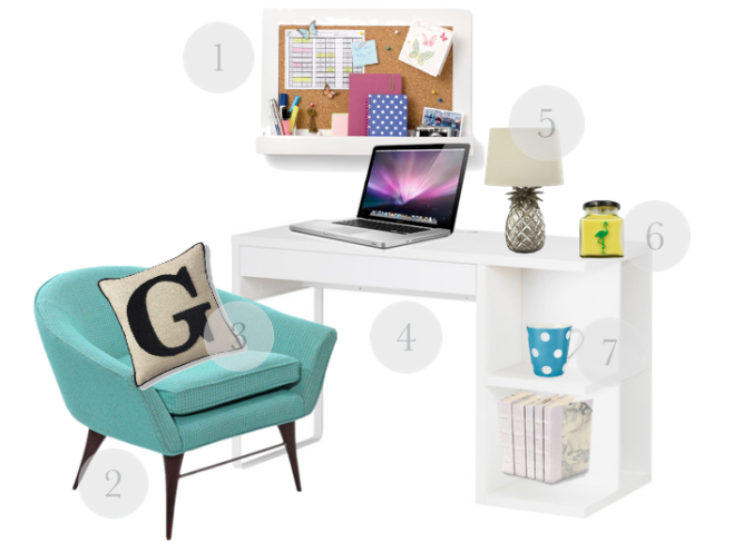 home, lifestyle, lifestyle blogger, home office, home office furnishings, home decor, home office desk, white desk, ikea desk, blue tub chair, office chair, scrabble cushion, work from home, freelancer, pineapple lamp, laura ashley pineapple lamp