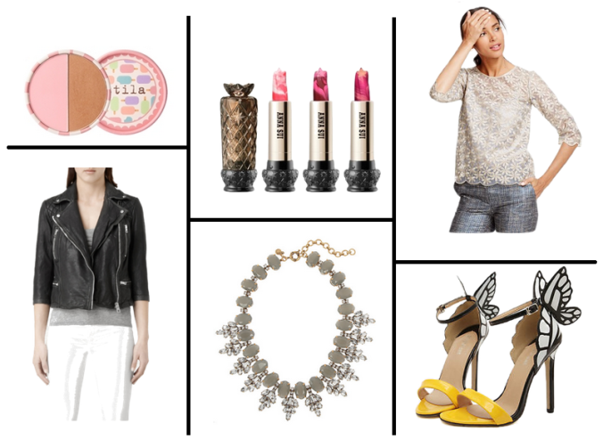 Wednesday wishlist, shopping, fashion, style, style advice, payday shopping, sophia webster hoes, sophia webster butterfly shoes, statement jewellery, statement necklace, leather jacket, allsaints leather jacket, stila makeup, lace top, lace trend, boden organza top
